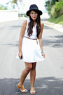 White-eyelet-dress-black-forever-21-hat-brown-sandals
