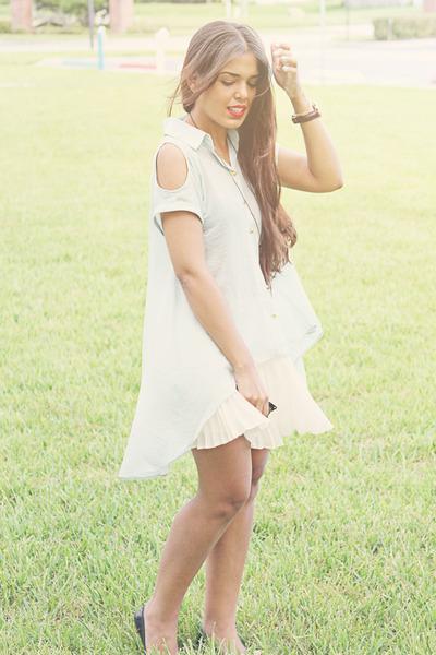 blouse - BCBG skirt - flats
