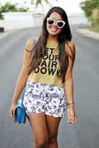 blue stachel Steve Madden bag - silver kirra shorts - dark khaki Bershka top