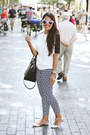Black-zara-bag-navy-patterned-forever-21-pants-white-zara-top