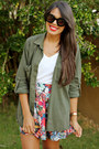 Black-ankle-shoedazzle-boots-army-green-zara-top-ruby-red-zara-skirt