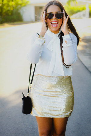 gold sequined Forever 21 skirt - black kitty asos bag