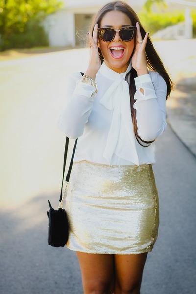 gold sequined Forever 21 skirt - black kitty asos bag