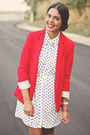 Blue-forever-21-wedges-white-forever-21-dress-red-zara-blazer