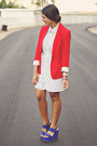White-forever-21-dress-red-zara-blazer-blue-forever-21-wedges