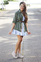 light blue denim acid-wash H&M dress - silver lace-ups wedges