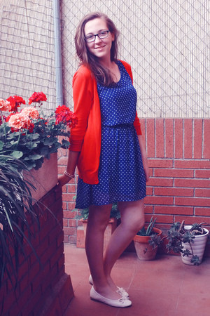 white flats - navy polka dot H&M dress - red Zara cardigan