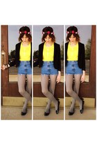yellow vintage shirt - blue DIY jeans - black H&M blazer