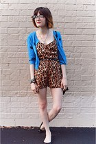 brown leopard romper Urban Outfitters romper - sky blue H&M cardigan - necklace