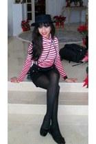 forever 21 black wool hat - polka dot purse