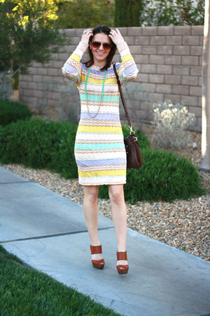 cable knit Missoni dress - leather kate spade bag - leather Sole Society heels