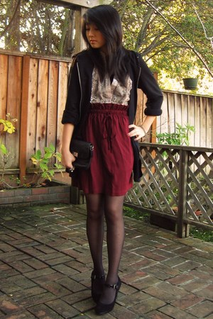 maroon Urban Outfitters skirt - dark gray coach bag - black Forever 21 jacket -