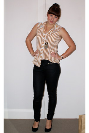 striped Dorothy Perkins top - black coated Witchery jeans - black heels