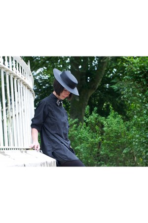 black vintage hat - black All Saints shirt - black My Own shorts