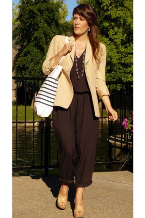 donna karan blazer - H&M jacket - Minelli shoes - H&M purse - iam necklace