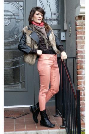 Walmart boots - H&M jacket - Maje scarf - Forever 21 vest - H&M cardigan - H&M p
