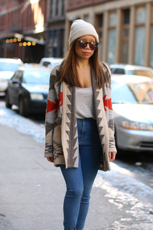 red Ralph Lauren cardigan - blue Urban Outfitters jeans