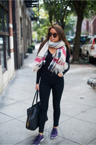 Forever 21 scarf - Urban Outfitters jeans - asos top - reebok women sneakers