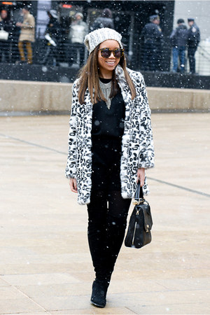 black Guess boots - haute hippie coat - black BCBGMAXAZRIA bag
