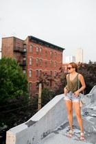 dark khaki Urban Outfitters top - eggshell DKNY bag - blue H&M shorts