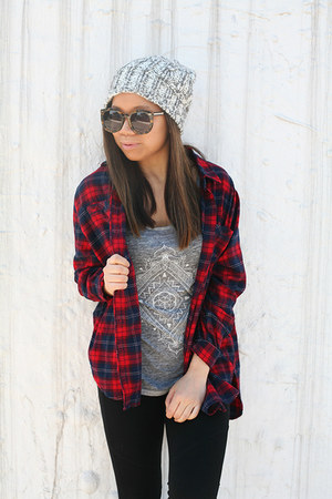 gray white crow top - black DKNY leggings - red Urban Outfitters shirt