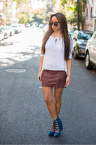 white Design History sweater - maroon haute hippie skirt