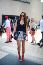 haute hippie vest - Tom Ford bag - haute hippie shorts - Aldo heels