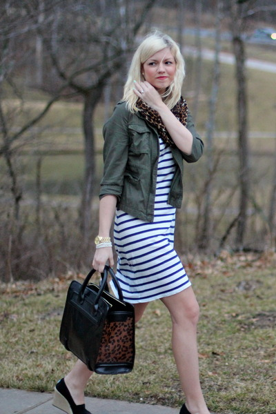 black Zara bag - navy Macys dress - army green utility jacket Old Navy jacket