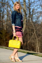 yellow kate spade bag - pink Bar III dress - navy denim jacket Old Navy jacket