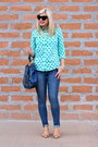 Tan-bows-tahari-shoes-navy-michael-kors-bag-aquamarine-polka-dots-target-top
