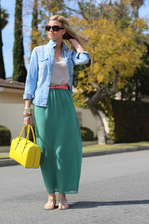 yellow kate spade bag - sky blue denim H&M shirt - tan Nordstrom top