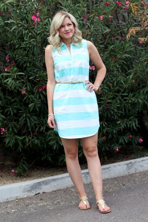 aquamarine rugby stripe Old Navy dress - gold skinny Express belt