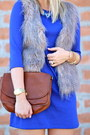 Blue-shift-dress-h-m-dress-tan-faux-fur-poshmark-vest
