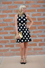 Black-strappy-zara-shoes-black-polka-dots-luluscom-dress