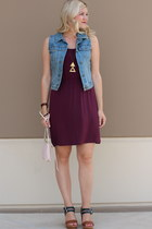 brown two-tone Target wedges - maroon sleeveless H&M dress