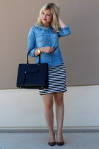 black mab Rebecca Minkoff bag - light blue chambray Gap top