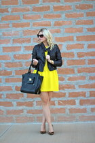 black faux leather Target jacket - yellow drop waist Bar III dress