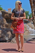 red thrifted skirt - brown willis coach bag - black Karen Walker sunglasses