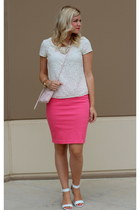 ivory ankle strap Alfani wedges - hot pink pencil H&M skirt - ivory lace Gap top