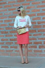 Off-white-old-navy-sweater-salmon-tweed-jcrew-skirt-tan-nude-nine-west-pumps