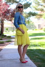 Yellow-chiffon-choies-skirt-sky-blue-chambray-gap-top