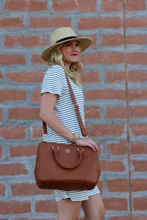 navy striped Target dress - off white panama JCrew hat