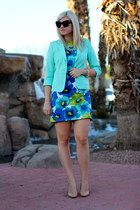 blue floral Loft dress - aquamarine mint Forever 21 blazer