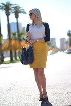 mustard mustard JCrew skirt - ivory Michael Kors bag - brown Nine West heels
