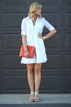 white Gap dress - carrot orange ipad case Alicia Klein bag - red JCrew necklace