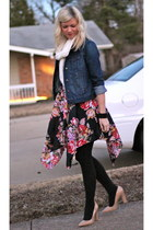 ruby red floral American Rag dress - navy denim jacket Old Navy jacket