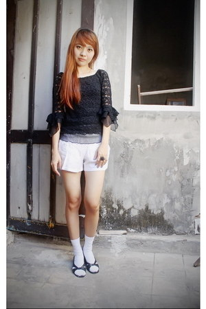 black lace blouse - white shorts - white socks - black sandals