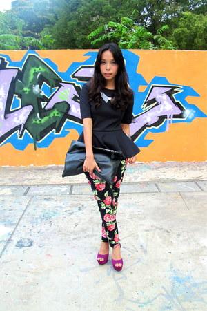 black bysi pants - white H&M necklace - black peplum H&M blouse
