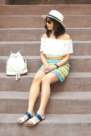 sky blue skirt - yellow skirt - white top - blue sandals