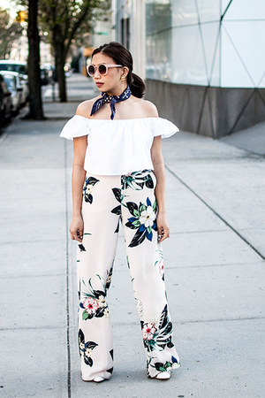 white top - light pink wide leg pants